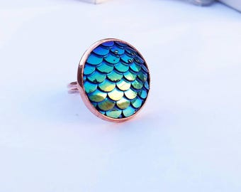 Rose gold copper free adjustable ring with blue/green mermaid scales   fish scales   dragon scales