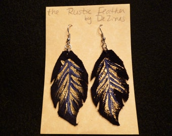 The 'Rustic Feather' Hand cut and Hand painted Suede Leather Dangle Earrings in Gold and Blue