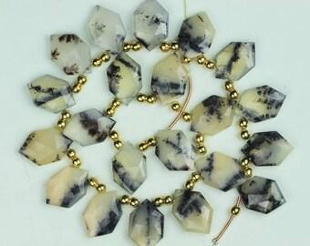 20 piece faceted DENDRITE OPAL hexagonal beads 12 x 20 mm approx