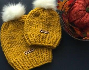 Mommy and Me Pom Pom Beanie, Handknit Hat, Mustard