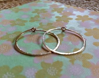 """Gold Hoops 1"""" Small Thin Hammered Hoop Earrings 25mm 14k Gold Filled Hoops Rustic Hoops Artisan Hoops Bellanti Jewelry"""