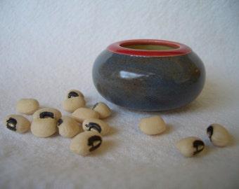 tiny ceramic bowl - red and smoky blue