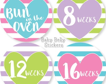 Pregnancy Stickers, Maternity Stickers, Weekly Pregnancy Stickers, Belly Stickers, Bump Stickers, Baby Bump, Milestone Stickers