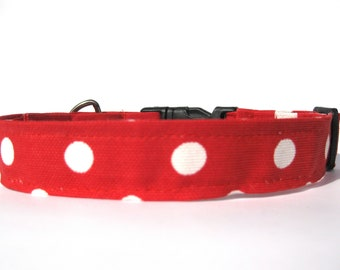 polka dot dog collar,red and white dog collar,girl dog collar,the Minnie dog collar,red dog collar