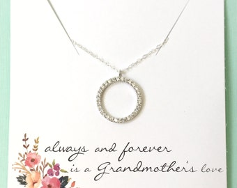 Grandma Necklace, Grandmother Necklace, Grandma gift, Circle Necklace, Cubic Zirconia, Thank you Gift, Circle Pendant, Silver Gold Circle