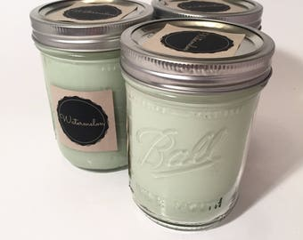 Soy Wax Candle Watermelon Scent, Hand Poured Mason Jar Candle, Melon Candle