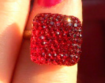 Glittery Sparkle Red Blue or Pink  - Hollywood Glamour Rings Cabochon  Adjustable Setting