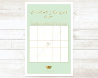 mint gold bridal shower bingo printable game mint gold glitter wedding shower digital games - INSTANT DOWNLOAD