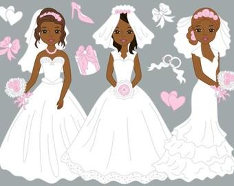 African American Bride Clipart - Digital Vector Bride, Wedding, Romantic, Girl Clip Art
