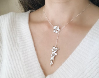 Silver Dogwood Lariat Necklace- Dogwood Necklace, Silver Necklace, Adjustable Lariat, Feminine Necklace, Dainty Necklace, Y necklace
