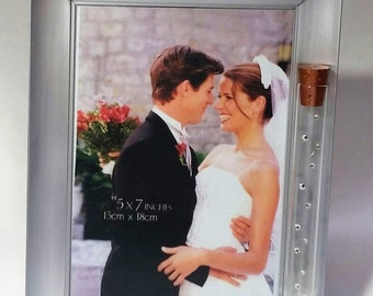 Jewish Wedding Picture Frame - Jewish Engagement Gift - Holds Shards From Wedding Ceremony - 5x7 picture
