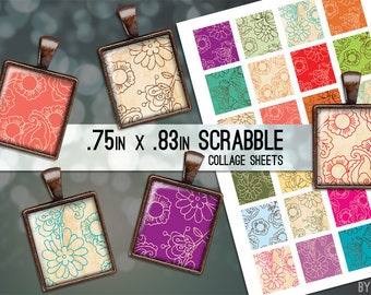 Digital Collage Sheet Flowers Digital Scrabble Tile .75x.83 Images on 4x6 and 8.5x11 Download Sheets for Glass Resin Pendants E0049