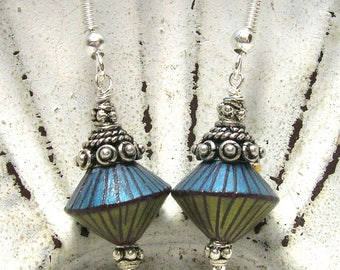 Blue/Bronze Art Bead Earrings - Handmade Earrings