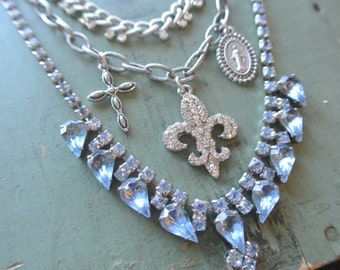 Rhinestone Cross Necklace,Blue Vintage Rhinestone, Fleur De Lis,Religious,Mutli Chain,Three layered Necklace,One of a Kind By UPcycled Works