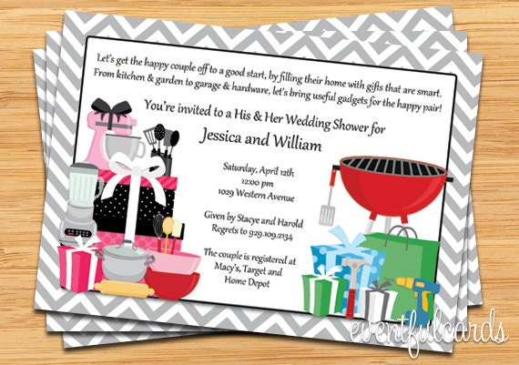 His and hers couple wedding shower invitation description invite the guests for a couples wedding shower filmwisefo Images