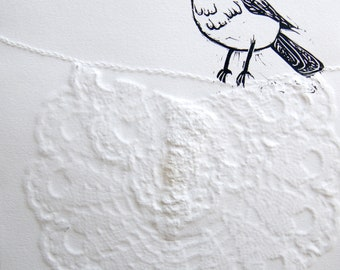 Bird on a Clothesline - Print with Blind Emboss