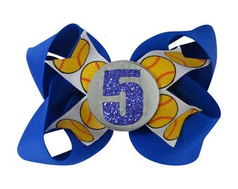 Electric Royal Blue Softball Hair Bow-  with Glitter Player Number - Choose colors