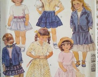 McCalls 3204 Childrens Shirt Jacket, Shirt, Top, Skirt and Petticoat Sewing Pattern Size 4 NEW UNCUT