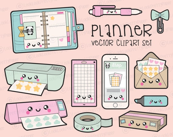premium vector clipart kawaii planning clipart kawaii rh etsy com kawaii clipart girl kawaii clipart unicorn
