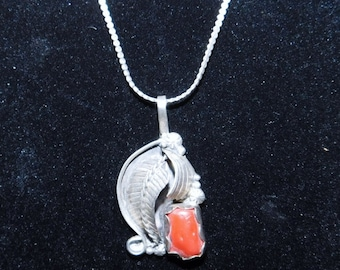 Lovely Vintage - 925 - Sterling Silver Necklace with Pendant and Red-Orange Colored Stone