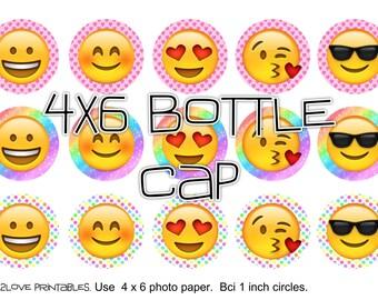 "emojis happy colors rainbow 4x6 - 1"" circles, bottle cap images, stickers"
