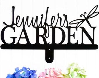 Custom Garden Name Sign   Outdoor Sign   Metal Art   Name Sign   Gift For Her   Garden Decor   Garden Sign   Sign   Dragonfly