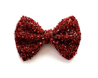 Red TINSEL Bow Adorable Photo Prop Pictures Headband for Newborn Baby Girl Child Adult Christmas Fall Christmas Holiday Alligator Clip