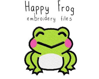 Frog EMBROIDERY MACHINE FILES pattern design hus jef pes dst all formats animal spring summer toad Instant Download digital applique cute