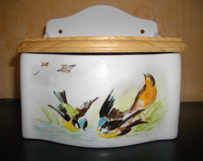 Salt box / porcelain / handpainted / chickadees