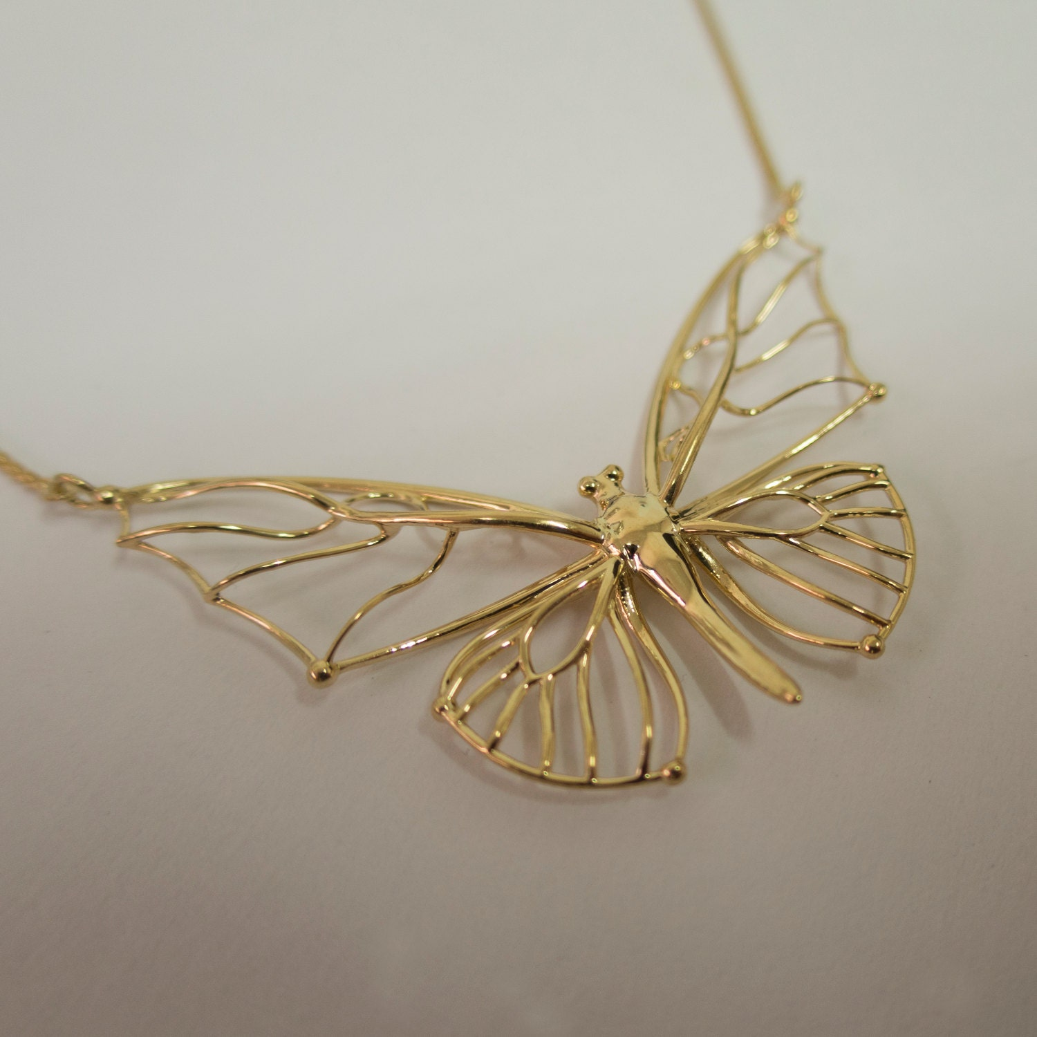 Butterfly Pendant Solid Gold Butterfly Pendant Large