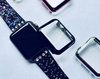 Glitter with Free Swarovski Crystals Apple Watch Band 38mm 42mm BLACK (Also available in Silver, Gold, Pink, Blue) Womens Bling iWatch 38 42