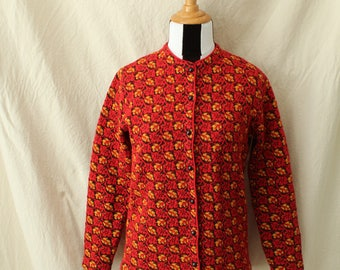 1960s Jantzen Cardigan Red Yellow Leaf Print Button Front Size 40