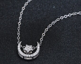 Pretty Silver Moon Crest and Star Austrian Crystal Pendant Necklace - Everyday Wear