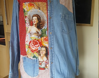 Denim Shirt - Upcycled - Mexican - One off