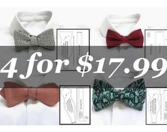 Diy bow tie patterns Bow tie tutorial how to Classic/Tuxedo bowties pdf pattern Big/Diamond point/Freestyle Men's Self tie bow tie pattern