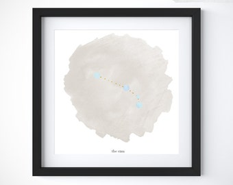 Aries Zodiac Wall Art | Watercolor Constellation w/ Astrological Meaning, March Birthstone + April Birthstone, Birthday Gift