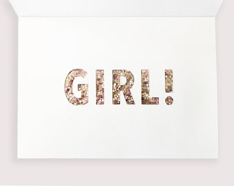 Baby Announcement and Gender Reveal Card - Dusty Pink with Gold Star Glitter Letters Revealed Inside for a GIRL!