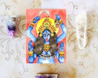 Mythology Art Hindu Goddess Kali Prayer Card Dark Goddess Hinduism Kali Ma Pagan Art Sacred Divine Feminine Fantasy Altar Art Spiritual Art