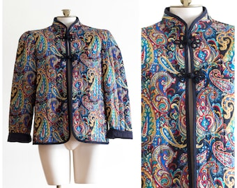 Chinese paisley print quilted jacket