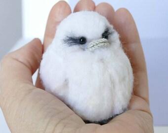 Little white bird:  fibre art - needle felted, crochet, pom pom.  Cute collectible.