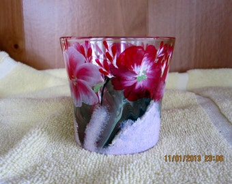 ON SALE Hurricane Candle Holder with spring flowers hand painted candle included