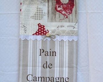 Country bread bag chic cotton ticking and his hens with hand painted inscription