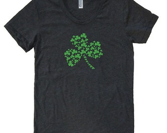 St Patricks Day Irish Shamrock Womens Shirt - T Shirt - Blended - Heather Black Green Ink - Womens Ireland Tee