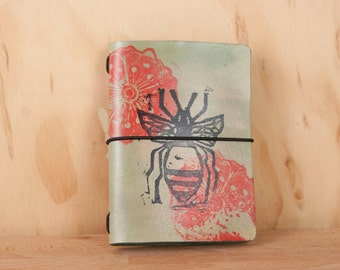 Midori Notebook Cover - Leather in the Bee Pattern with Flowers in red, green and black - Travelers Notebook Style Moleskine Journal