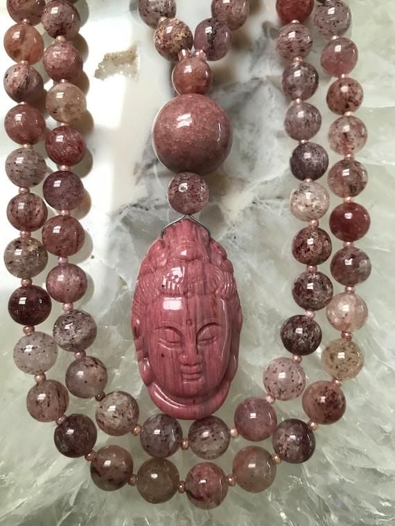 Cherry Quartz and Rhodonite Mala/Prayer Beads