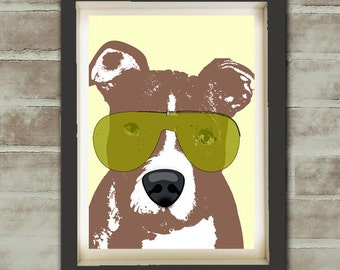 American Pit Bull Terrier Dog - Fine art print, dog lover, sun glasses, wall art, decor, pit bull terrier