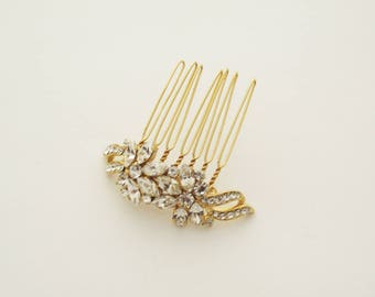 Gold Bridal Jewelry, Bridal Hair Accessories, Hair Comb, Decorative Comb, Bridal Comb, Wedding Hair Comb, Gold Hair Comb, Crystals Hair Comb