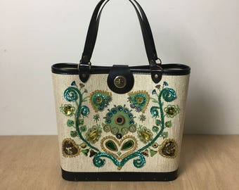 1960 jeweled tote canvas and wood bucket purse jeweled bucket bag lady bag Enid Collins style kit bag