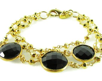 Black Onyx and Gold Pyrite beaded chain Bracelet, Black & Gold Bracelet, Gemstone Bracelet, Gold Bracelet