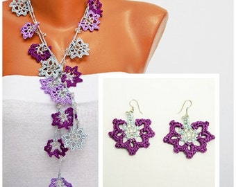 crochet beaded  lariat necklace   -Crochet bead work, crochet  jewelry,crochet oya necklace,with beads